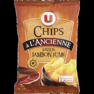 Chips à l'ancienne saveur jambon fumé U, sachet de 135g