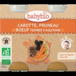 Pot de carotte pruneau boeuf, BABYBIO, dès 8 mois, 2x200g
