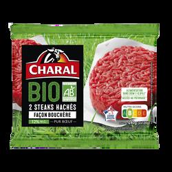 Steak haché façon bouchère, 12%Mat.Gr, BIO, CHARAL, France, 2 pièces,240g