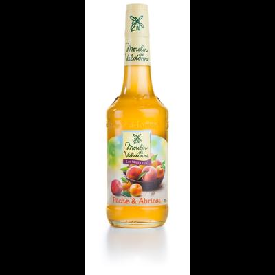 Sirop de pêche abricot MOULIN DE VALDONNE, bouteille en verre de 70cl