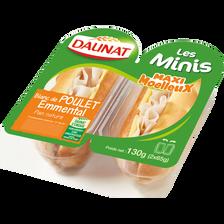 Daunat Sandwich Mini Viennois Poulet Emmental , 2x65g 130g