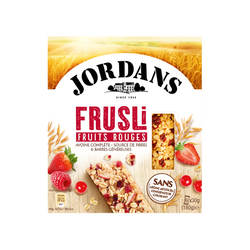 Barres céréales frusli fruits rouges JORDANS, 180g