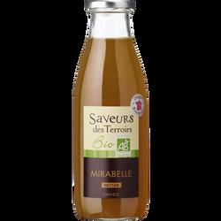 Nectar de mirabelles bio SAVEURS DES TERROIRS, bouteille de 25cl