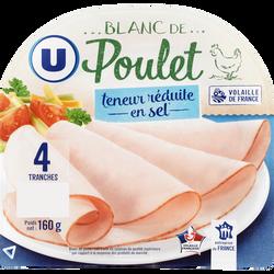 Blanc de poulet teneur sel réduit U, x4, 160g