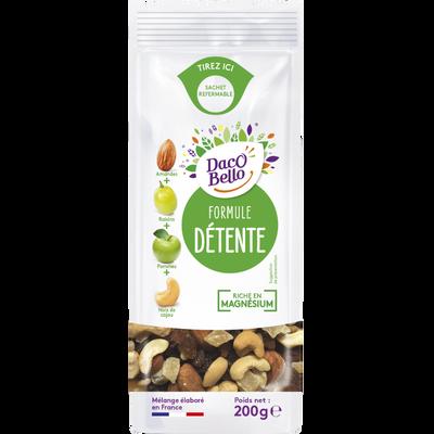 """Mélange de fruits secs """"Formule Détente""""(amandes,raisin,pomme,noix decajou), DACCO BELLO, sachet 200g"""