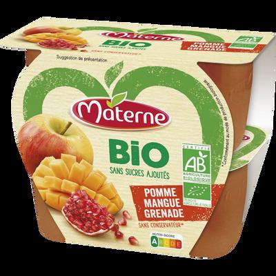 Dessert de fruits sans sucre ajouté bio pomme mangue grenade MATERNE,4x100g