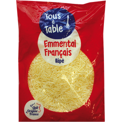 Emmental pasteurisé râpé tous à table, 30% de MG, 1 kg