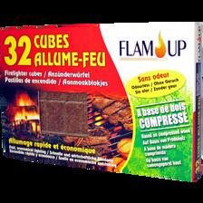 Cubes allume feux naturels sans odeur en bois compressé FLAM'UP,boitede 32