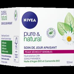 Crème de jour hydratante pour peaux sensibles Pure & Natural NIVEA VISAGE, tube de 50ml