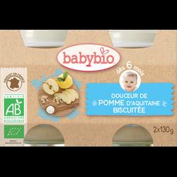 Pot douceur pomme biscuit BABYBIO, dès 6 mois, 2x130g