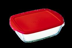Plat rectangulaire PYREX COOK & STORE 23x15cm rouge-avec couvercle
