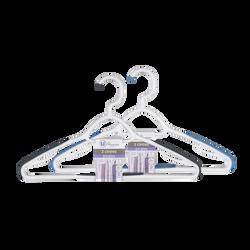 Cintres anti glisse U MAISON, bi-matière, avec crochet tournant, blanc/taupe et blanc/noir, 2 unités