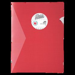 Grand cahier piqure U, petits carreaux, 24x32cm, 48 pages, rouge
