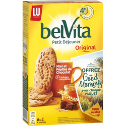 Biscuit petit déjeuner miel et pépites de chocolat BELVITA Lu, 435g