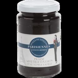 Confiture fraise et myrtille, passion, tonka LES PETITES PARISIENNES,280g