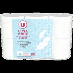 Papier toilette décoré 3 plis U, 6 rouleaux