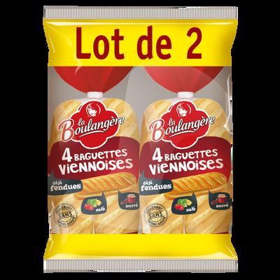 Baguettes viennoises nature fendues LA BOULANGÈRE, 2x4 soit 680g