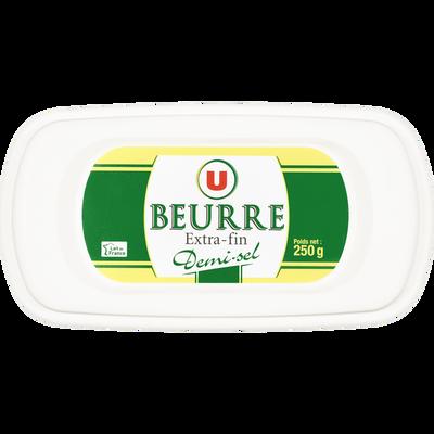 Beurre extra fin demi-sel U, 80% de MG, barquette de 250g
