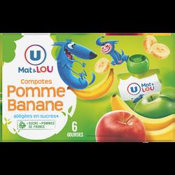 Gourdes compotes allégée en sucres pomme banane U MAT&LOU, 6x90g
