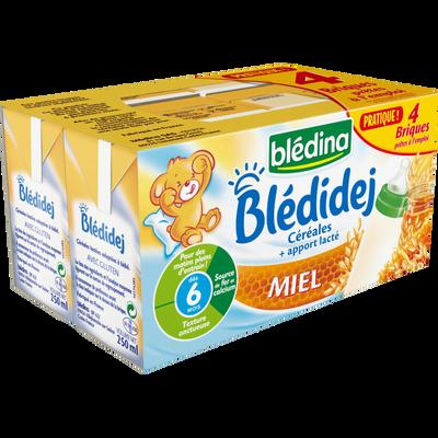 BLEDIDEJ lait et céréales saveur miel, dès 6 mois, 4x250ml
