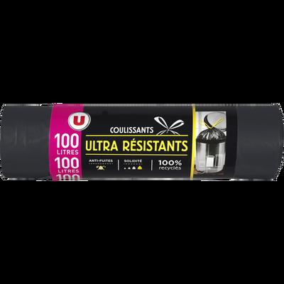 Sacs poubelle ultra résistants 100% recyclé liens coulissants U, x10,100l
