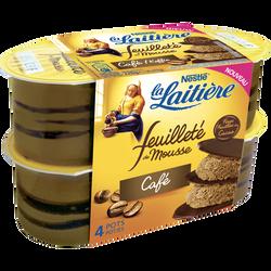 Mousse lactée au café aromatisée et fines feuilles de cacao LA LAITIERE, 4x57g
