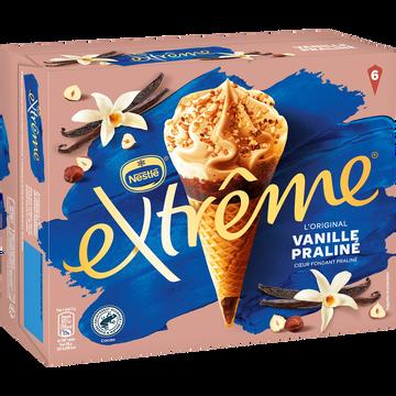 Nestlé Cônes Glacés Vanille Praliné Extrême, X6 Soit 426g