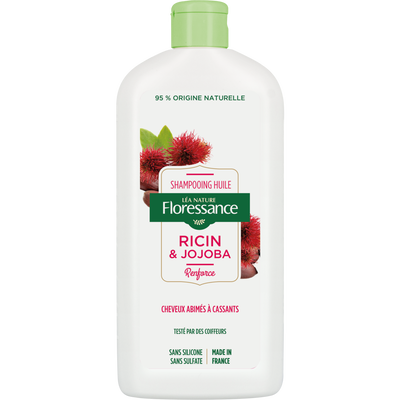 Shampooing infusion ricin & jojoba renforcé FLORESSANCE, flacon de 500ml