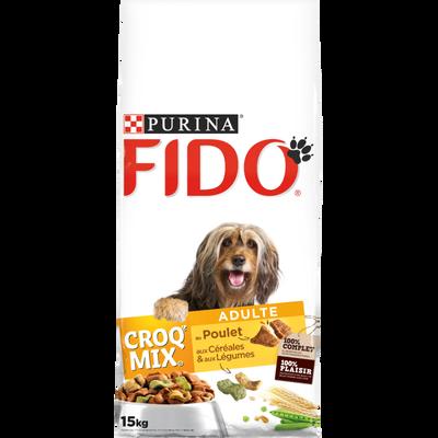 Croquettes croq mix au poulet  pour chien adulte FIDO, 15kg