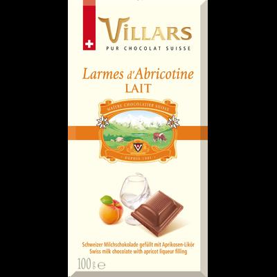 """Chocolat au lait à la liqueur d'abricot """"Larmes d'Abricotine"""", VILLARS, tablette de 100g"""