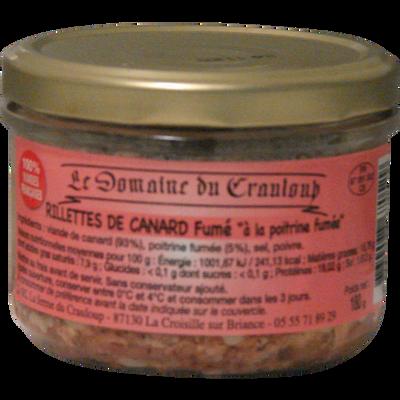 Rillettes de canard fumé LE DOMAINE DU CRAULOUP, 180g