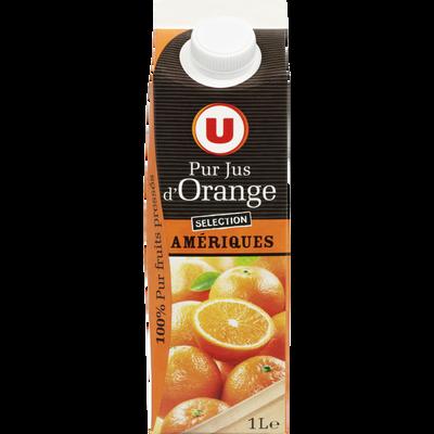 Pur jus d'orange des Amériques U, brique de 1l