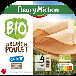 Blanc de poulet bio cuit -25% de sel FLEURY MICHON, x4 soit 120g