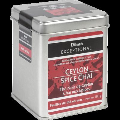 Thé noir de Ceylan chaï aux épices DILMAH, sachet de 100g