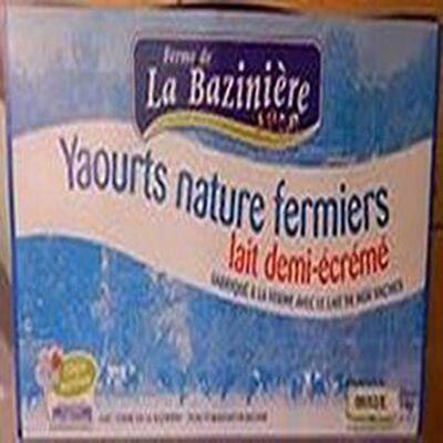 """Yaourts """" LA BAZINIERE """" lait demi-écrémé"""