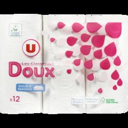 Papier toilette doux blanc 2 plis U, paquet de 12 rouleaux