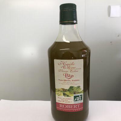 Huile d'olive vierge extra non filtré fruitée avec sa pulpe BIO Robert bouteille 1L