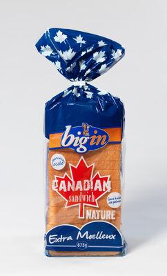 Pain de mie blanc Canadien, BIG'IN, paquet de 675g