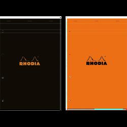Bloc note RHODIA, perforé, grands carreaux, 21x31,8cm, 160 pages, coloris assortis