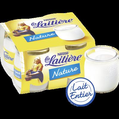 Yaourts natures au lait entier LA LAITIERE, 4x125g