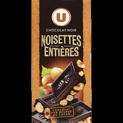 Tablette de chocolat noir et noisettes entières U, tablette de 200g