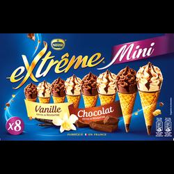 Mini cônes vanille et chocolat EXTRÊME, x8 soit 312g