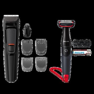 Philips Tondeuse Multifonctions  Mg3710/85-6 En 1:4 Sabots Barbe/barbe3 Jours (1,2,3,5mm),tondeuse Nez/oreille-access.rinceables-recharg.16h-autonomie 1h-tondeuse Corps Offert