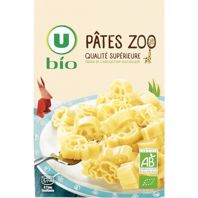 Pâtes zoo U BIO, boîte de 500g
