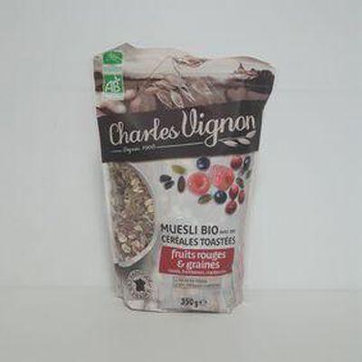 Muesli bio fruits rouges et graines CHARLES VIGNON sachet 350g
