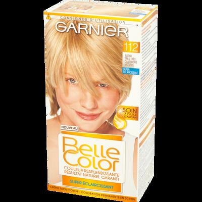 Coloration permanente BELLE COLOR, blond très très clair doré n°112