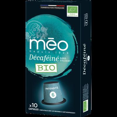 Café déca bio MEO, étui de 10 capsules, 53g