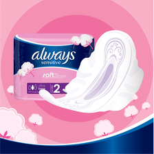 Serviette douceur long plus ALWAYS, sachet x10