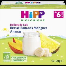Brassé bananes mangues ananas dès 6 mois biologique HIPP, coupelles de4x100g