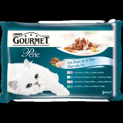 Aliment pour chat adulte Duo de la Mer saumon et thon GOURMET Perle,sachets 4x85g